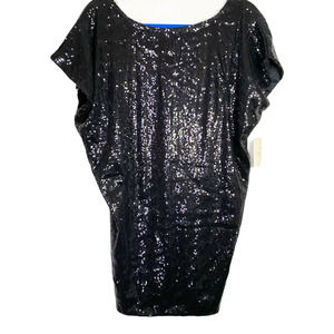 Forever 21 Sequin Sparkle Batwing Black Tunic Top